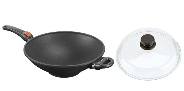 Titanový wok 32 cm s poklicí SKK Titan Durit Resist