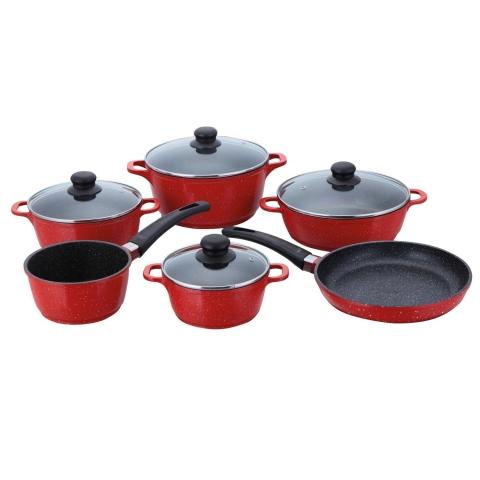 10 dílná sada nádobí s povrchem kamene červená i na indukci